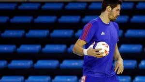 France's handball team player Nikola Karabatic attends a training session in Toulon