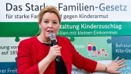 """Bundesfamilienministerin Franziska Giffey im Januar 2019 bei der Vorstellung des """"Starke-Familien-Gesetzes"""" im """"ZukunftsHaus Wedding"""" in Berlin"""