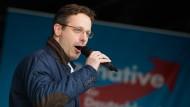 Marcus Pretzell, der nordrhein-westfälische AfD-Vorsitzende, bei einer Wahlkampfveranstaltung in Düsseldorf