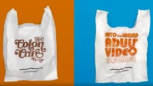 Supermarkt bedruckt Plastiktüten mit peinlichen Slogans