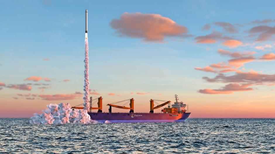 Simulation eines Raketenstarts in der Nordsee.