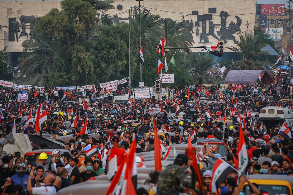 Bagdad am Sonntag: Demonstranten versammeln sich auf dem Tahrir-Platz
