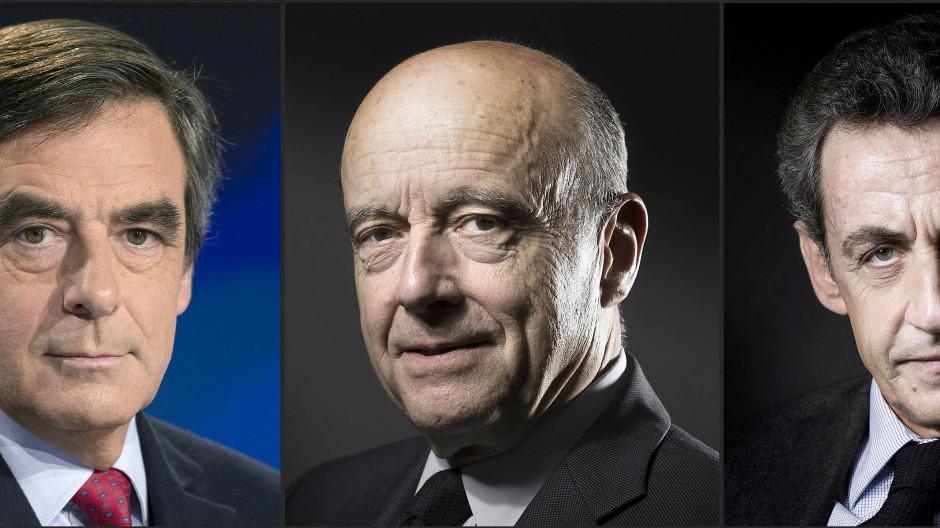 Drei ältere Männer, drei französische Politiker der Republikaner (v.l.n.r.): François Fillon, Alain Juppé und Nicolas Sarkozy.