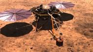 Der Mars-Lander wird das Seismometer mit einem Greifarm auf dem Boden absetzen, nachdem mithilfe einer Kamera ein geeigneter Standord identifiziert wurde.