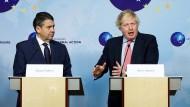 Die Außenminister von Frankreich, Deutschland und Großbritannien am Donnerstag zu Gast bei Federica Mogherini in Brüssel.
