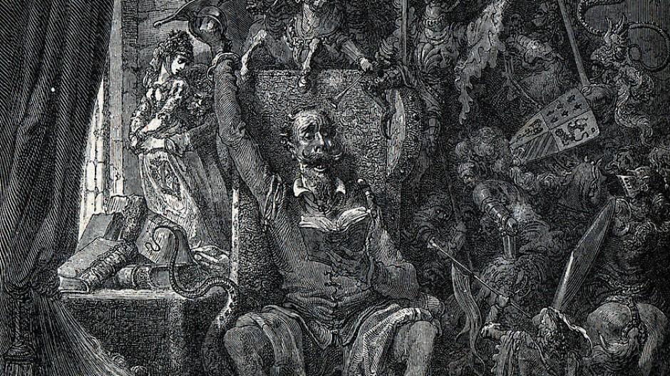 Bedrängt von Büchern: Gustave Dorés Don Quichote wird der Literatur nur mühsam Herr.
