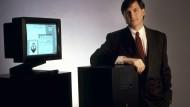 Erkennen Sie diesen Mann? Steve Jobs macht Werbung für seine Firma NeXT, Kalifornien 1988.