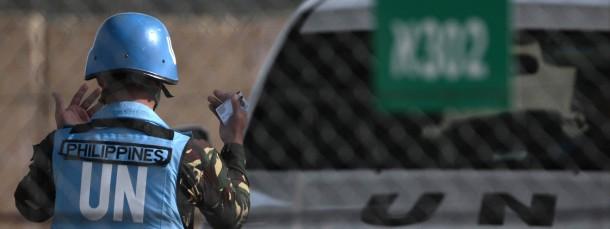 Philippinischer Blaumhelmsoldat der Undof-Mission auf den Golanhöhen