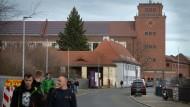 Feierabend vor dem Werk der Firma Bosch in Bamberg