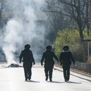 Am Vormittag legte sich Rauch über Frankfurt - von brennenden Autoreifen und Barrikaden.