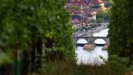 Ziemlich grün: Würzburg und die Mainbrücke.