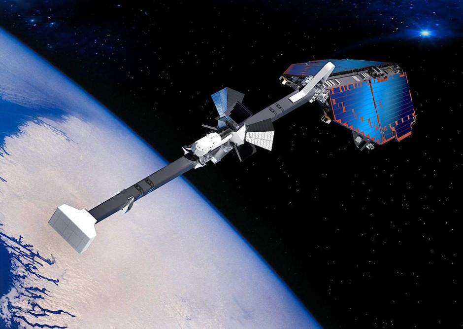 """Die Satellitenmission """"Swarm"""" erkundet das Magnetfeld der Erde - hier eine animierte Darstellung."""