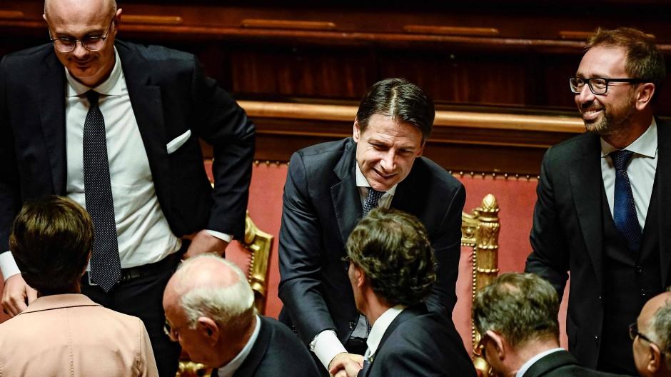 Grund zur Freude: Ministerpräsident Giuseppe Conte am 10. September 2019 im Senat in Rom