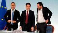 Ein ungleiches Trio: Italiens Arbeitsminister Luigi Di Maio, Premierminister Giuseppe Conte und Innenminister Matteo Salvini.
