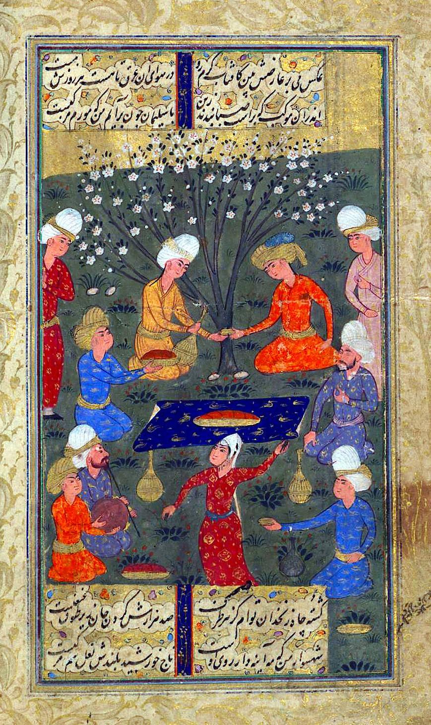 """Feier des Lebens: Mit dem """"Diwan"""" des Dichters Hafis, hier eine Miniaturmalerei dazu aus dem 17. Jahrhundert, sind viele Iraner aufgewachsen."""