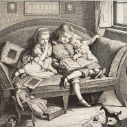 Hugo Bürkner: Geschwister beim gemütlichen Vorlesen, 1860, Radierung auf Papier, 12,5 x 13,5 cm, 200 Euro.