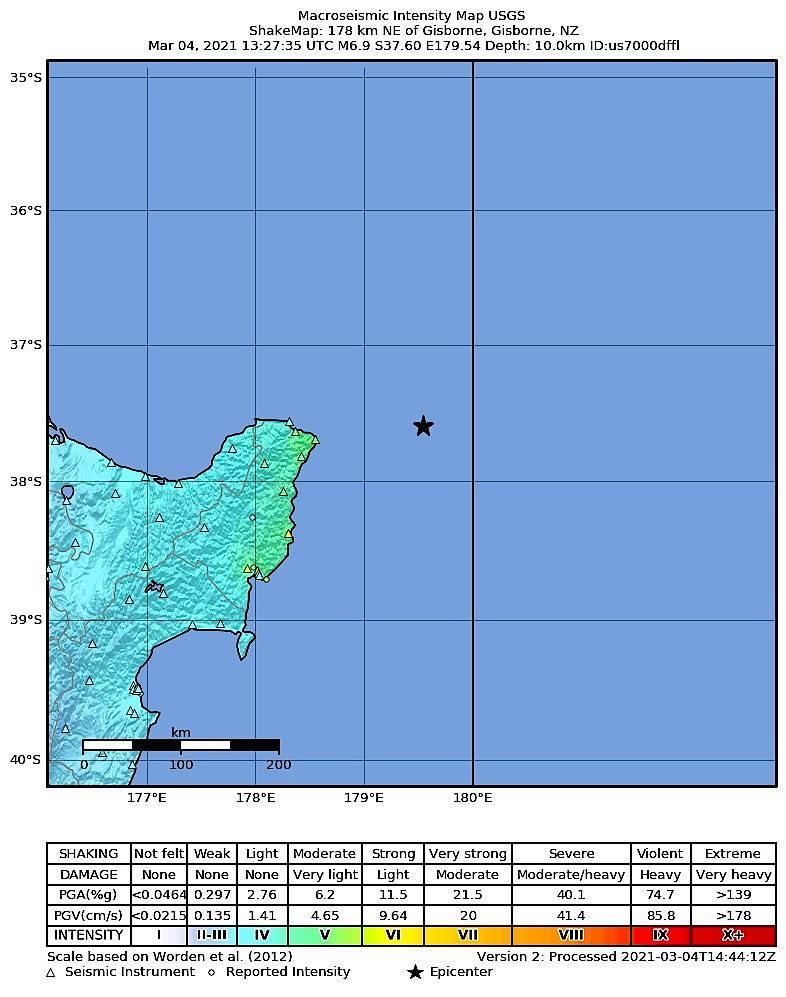 Auf dieser Karte ist das Erdbeben vor Neuseeland gut zu sehen, mit einer Stärke von 7,3.