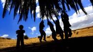 Spielende Kinder im Jordantal: Die Datteln der Palmen, an deren Wedeln es sich auch schön durch die Luft schwingen lässt, sind ein gefragtes Exportgut. In dieser Sache ist jede Leichtigkeit verlorengegangen.