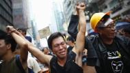 Studenten protestieren in Hongkong für mehr Demokratie.