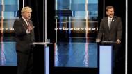 Boris Johnson im TV-Duell mit Jeremy Hunt.