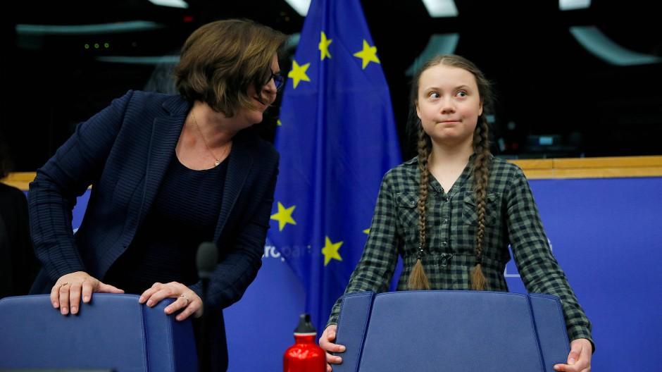 Greta Thunberg im April im Europäischen Parlament in Straßburg