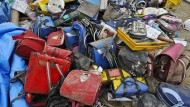 Nach dem Tsunami gefunden: Schultaschen aus der Okawa Okawa-Grundschule in Ishinomaki.