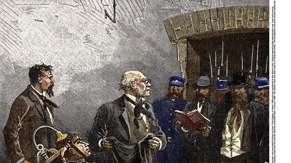 Auf dem Stuhl: William Kemmlers Elektrokution als Stich