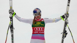 Vonn of the U.S. celebrates her first-place finish during the Women's World Cup Super G skiing in Lake Louise