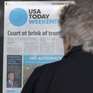 """Links unten im Bild bricht die """"USA Today"""" mit ihrer Tradition: Trump sei """"nicht geeignet für die Präsidentschaft""""."""