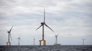 """Der Offshore-Windpark """"Bard Offshore 1"""" nordwestlich der Insel Borkum. Im Dezember 2010 wurde erstmals Strom eingespeist; doch die Anlage wird erst 2014 ihre volle Leistung bringen - wenn es eine Netzanbindung gibt."""