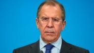 Der russische Außenminister Sergej Lawrow: Seine Forderung könnte den Prozess möglicherweise weiter verzögern.