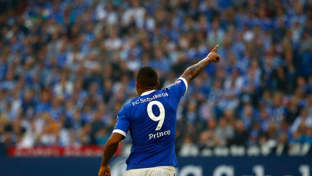 Boateng of Schalke 04 reacts during their German first division Bundesliga soccer match against Bayer Leverkusen in Gelsenkirchen