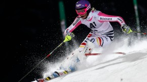 Hoefl-Riesch of Germany passes a gate during the first run of the Alpine Skiing World Cup night slalom race in Flachau