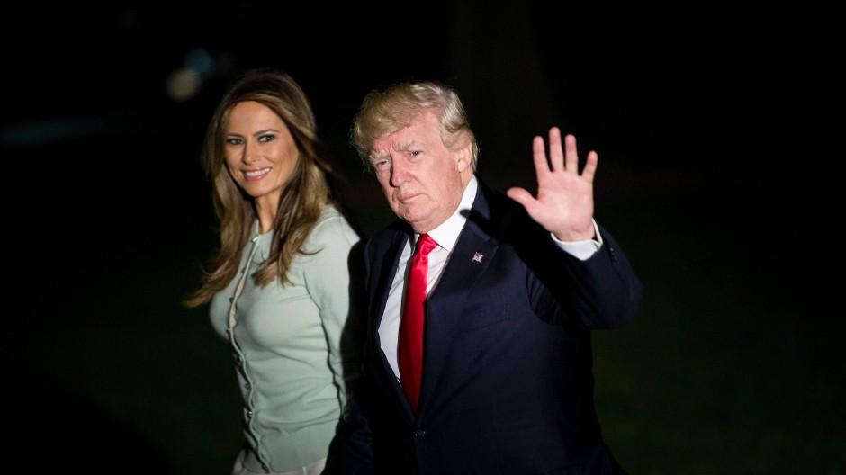 Präsident Donald Trump und seine Frau Melania nach ihrer Auslandsreise im Nahen Osten und Europa.
