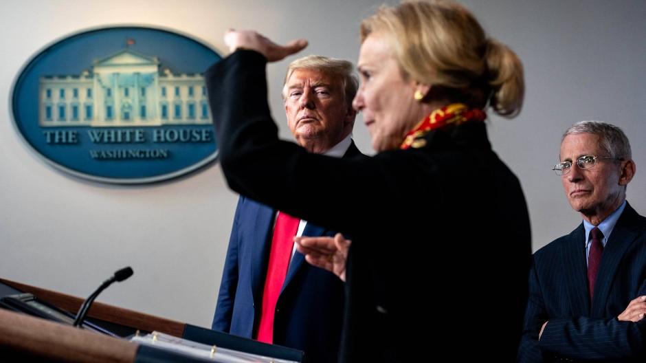 Donald Trump mit Deborah Birx, der Koordinatorin des Coronavirus-Krisenstabes, und Anthony Fauci, dem Leiter des Nationalen Instituts für Infektionskrankheiten, am Dienstag im Weißen Haus.