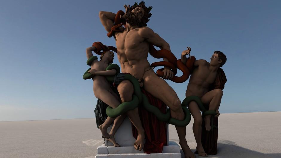Die grüne Schlange tötet den Sohn, die rote den Vater: Laokoons Ende, digital rekonstruiert von Berliner Archäologen.