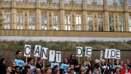 Demonstranten fordern am 12. Dezember 2018 vor dem britischen Parlament in London ein neues Brexit-Referendum.