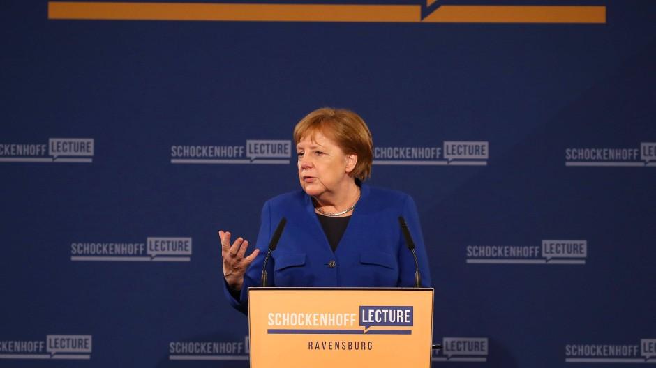 Ravensburg: Bundeskanzlerin Angela Merkel spricht bei der Premiere der Dr. Andreas Schockenhoff-Lecture.