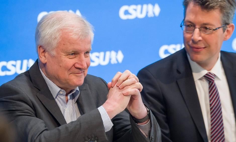 CSU-Vorsitzender Seehofer, CSU-Generalsekretär Blume