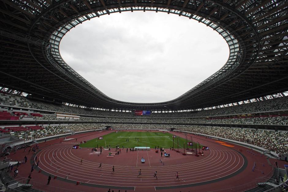 Keine Zuschauer: Bei den Wettbewerben wie auch bei der Eröffnungsfeier bleibt das Olympiastadion in Tokio größtenteils leer.