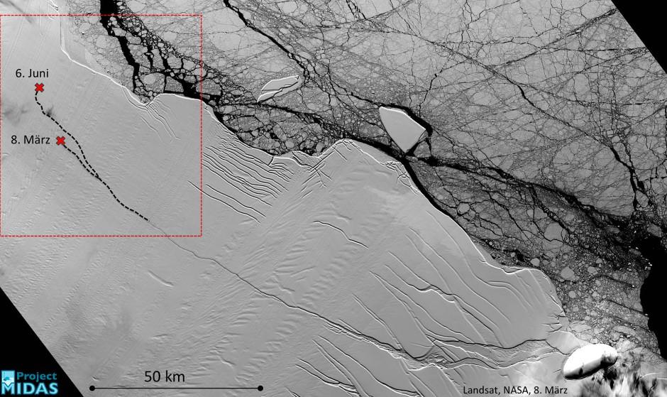 Das undatierte Handout-Foto zeigt ein optisches Satellitenbild vom März 2017 mit der ganzen Länge des Risses das Larsen-C-Schelfeises.
