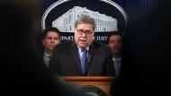 Verärgert über Apple: der amerikanische Justizminister William Barr am Montag in Washington