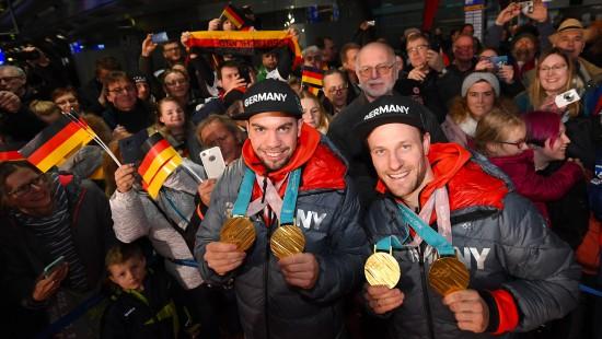 Deutsches Olympia-Team feiert zu Hause