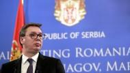 """Sein Land habe alle ihm auferlegten Verpflichtungen aus dem Brüsseler Abkommen """"zu 100 Prozent"""" erfüllt, sagt der serbische Präsident Vucic im Gespräch mit der F.A.Z."""