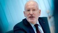Der SPD-Spitzenkandidat Frans Timmermans vergangene Woche bei einem Pressegespräch in Berlin.