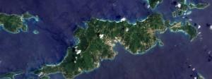 Nein, das ist nicht Panama, aber auch hier wird viel Geld versteckt: Luftbild der britischen Jungferninseln Tortola, Guana Island, Grand Camanoe und Beef Island in der Karibik