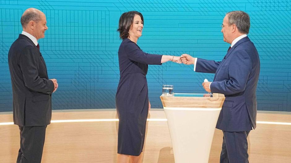 Olaf Scholz, Annalena Baerbock und Armin Laschet (v.l.n.r.) am Sonntag beim zweiten TV-Triell.