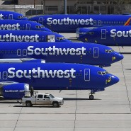 Geparkte 737-Max-Flugzeuge von Southwest Airlines auf einem Logistik-Flughafen in Kalifornien