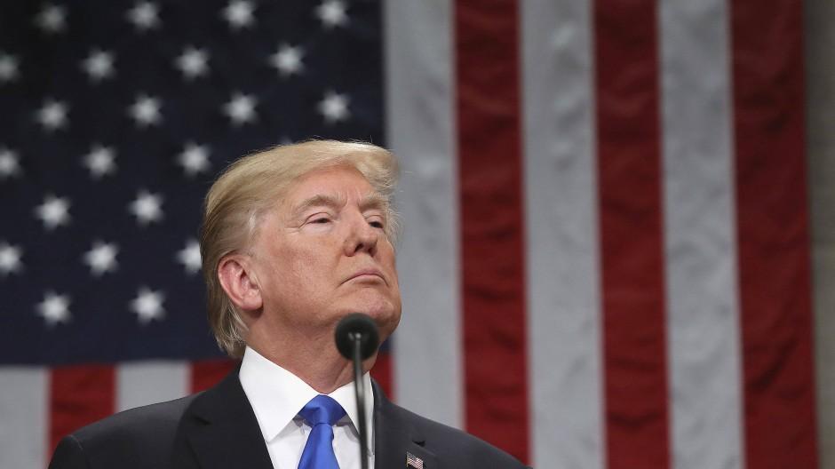 Donald Trump am 30. Januar 2018 während seiner ersten Rede zur Lage der Nation im Kapitol in Washington