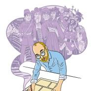 Was zeichnet den graphischen Romancier aus? Mit jedem Einfall schlägt er eine neue Seite auf. Selbstporträt von Simon Schwartz